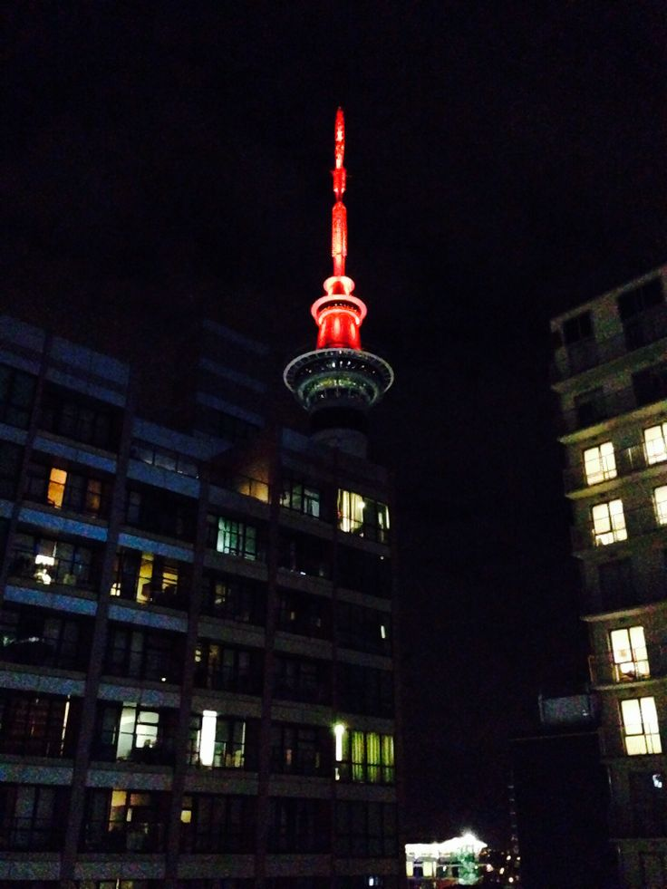 Sky Tower from my hotel (Anzac Day 2014)