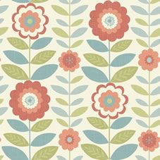 Arthouse Flower Power Coral And Teal Wallpaper