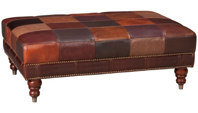 Patchwork Leather Ottoman Futura Leather Cocktail