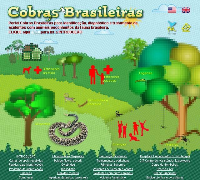 Página de abertura do Projeto COBRAS BRASILEIRAS.  Identificação, diagnóstico, acidentes por animais peçonhentos brasileiros da fauna brasileira.