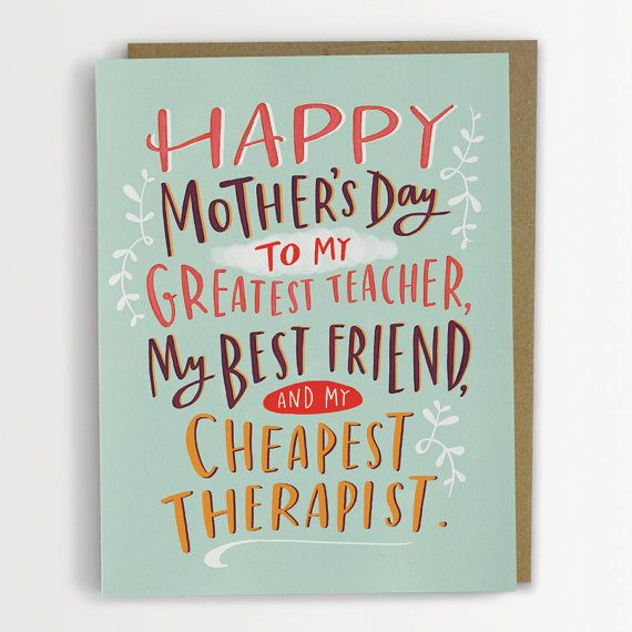 Cheapest Therapist Mother's Day Card Typography Funny by emilymcdowelldraws, $4.50