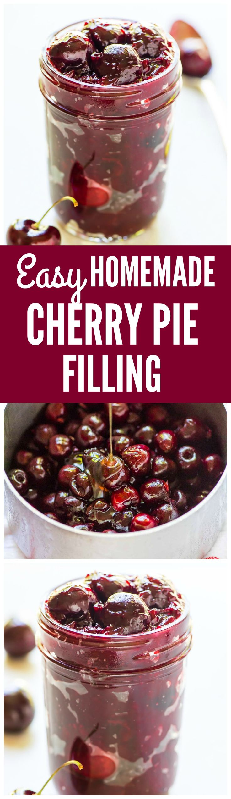 Ditch the canned filling and make your own homemade cherry pie filling from scratch! This EASY recipe will have you eating straight from the jar! Simple ingredients and naturally sweetened with honey. Recipe at wellplated.com @wellplated
