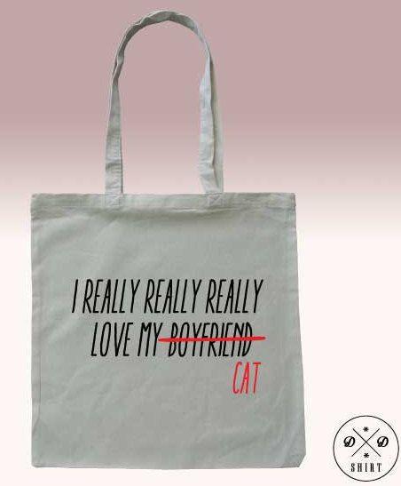 Tote bag, Shopping bag with print I really love my Cat, Funny tote bag, Shopping bag, Market Bag, Quote bag,