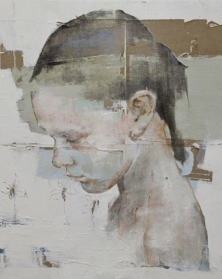 Artist: Massimo Lagrotteria, oil on paper and canvas, 2012 {contemporary figurative female child head girl face profile portrait cropped texture painting #loveart}