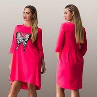 molett 5XL 6XL női rövid laza ruhát Animal háromnegyed O-nyakú ruha nyári őszi tavaszi ruhák új divat-stílus