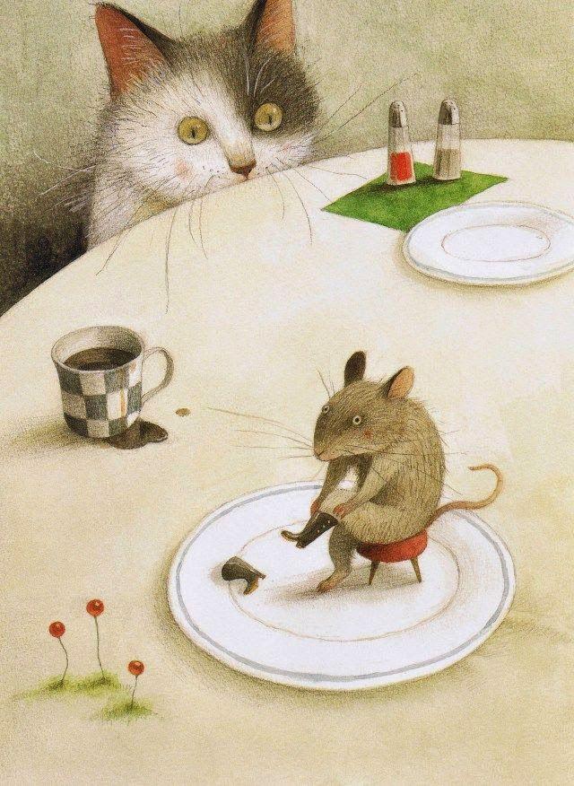 Ayano Imai cat mouse illustration