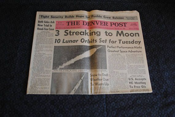 The Denver Post Colorado 1968 newspaper about space race