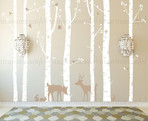 Birch Tree Wall Decal, Birch Trees, Birch Trees Vinyl, Birch Forest with Deer and Bunnies for Birch Nursery, Kids or Childrens Room 011