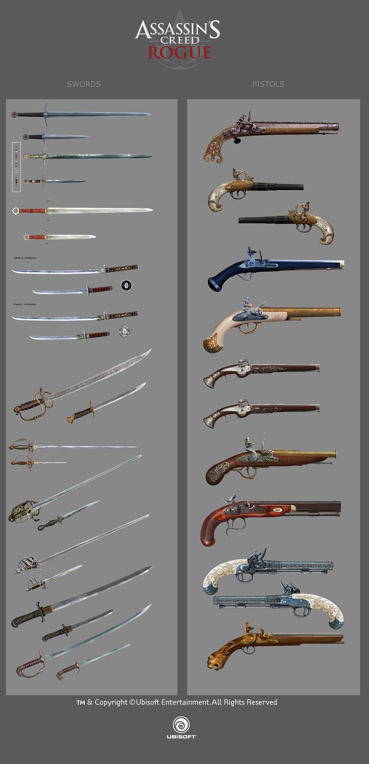 Assassin's Creed Rogue weapons by drazebot swords pistols concept art equipment gear magic item | Create your own roleplaying game material w/ RPG Bard: www.rpgbard.com | Writing inspiration for Dungeons and Dragons DND D&D Pathfinder PFRPG Warhammer 40k Star Wars Shadowrun Call of Cthulhu Lord of the Rings LoTR + d20 fantasy science fiction scifi horror design | Not Trusty Sword art: click artwork for source