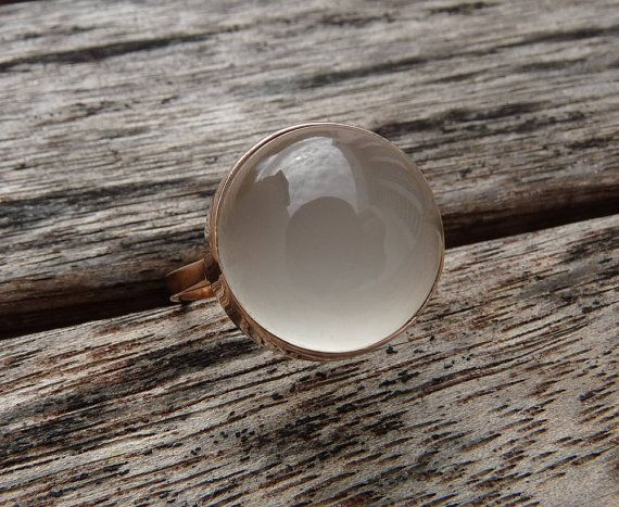 White moonstone  open bezel ring 14 karat pink gold on Etsy, £392.49