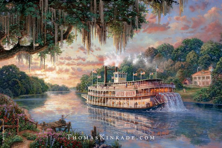 """The River Queen"", is a beautiful new painting by Thomas Kinkade . This piece began as a sketch that Thom's nephew and Pat's son, Zac, created at the request of a family friend. The finished painting captures the romance of the by-gone era of Mississippi River steam boats. To see this gorgeous masterpiece in detail and to read Pat Kinkade's notes about it, click on this Pin."