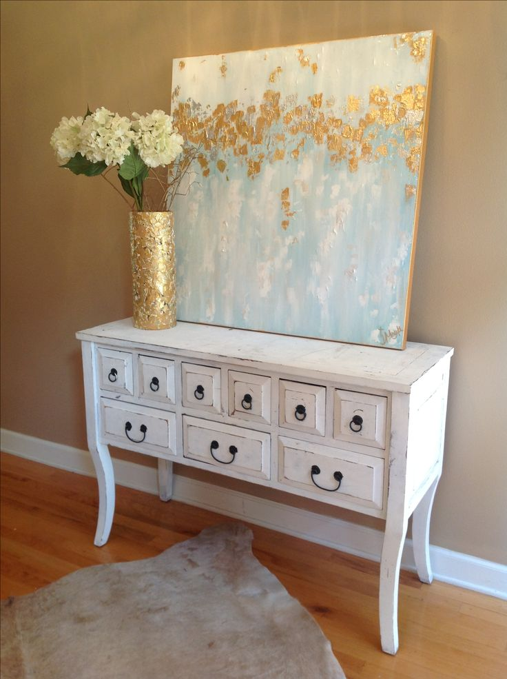 Abstract art blues, white, gold. 36x36. $375. Jenn Meador Paint. jennmeadorpaint@gmail.com