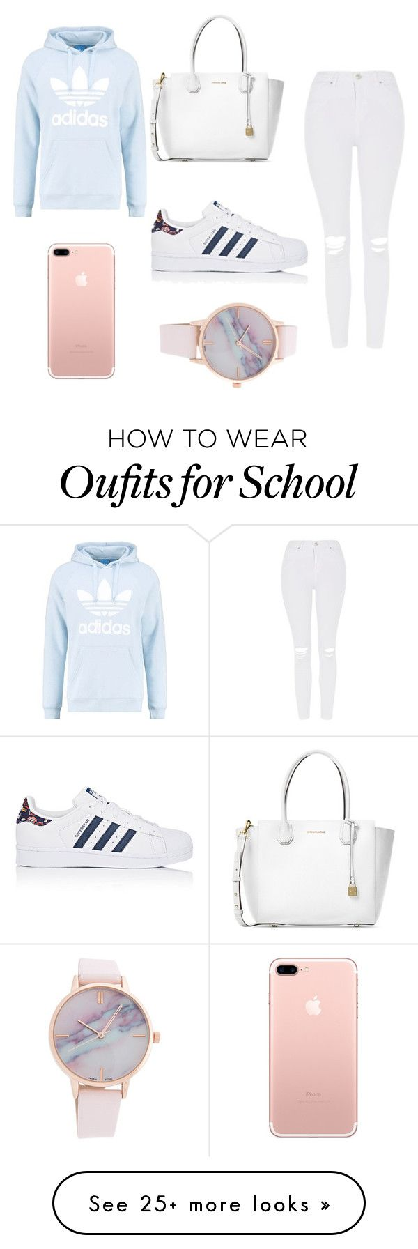 """school outfit "" by ashlehhfhbffg on Polyvore featuring Michael Kors, Topshop, adidas Originals and adidas"