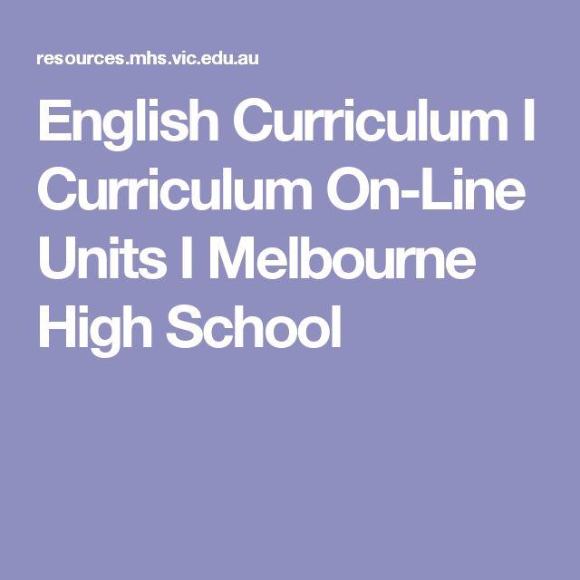 English Curriculum I Curriculum On-Line Units I Melbourne High School