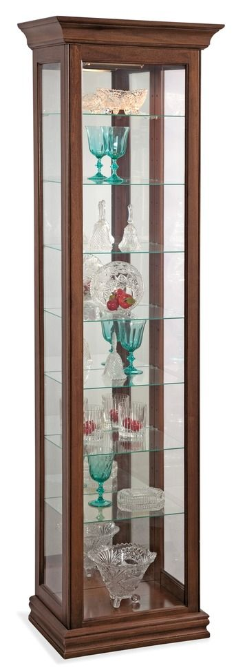 Encore Eight Shelf Curio Cabinet In Fruitwood Brown Philip Reinisch Home Gallery S