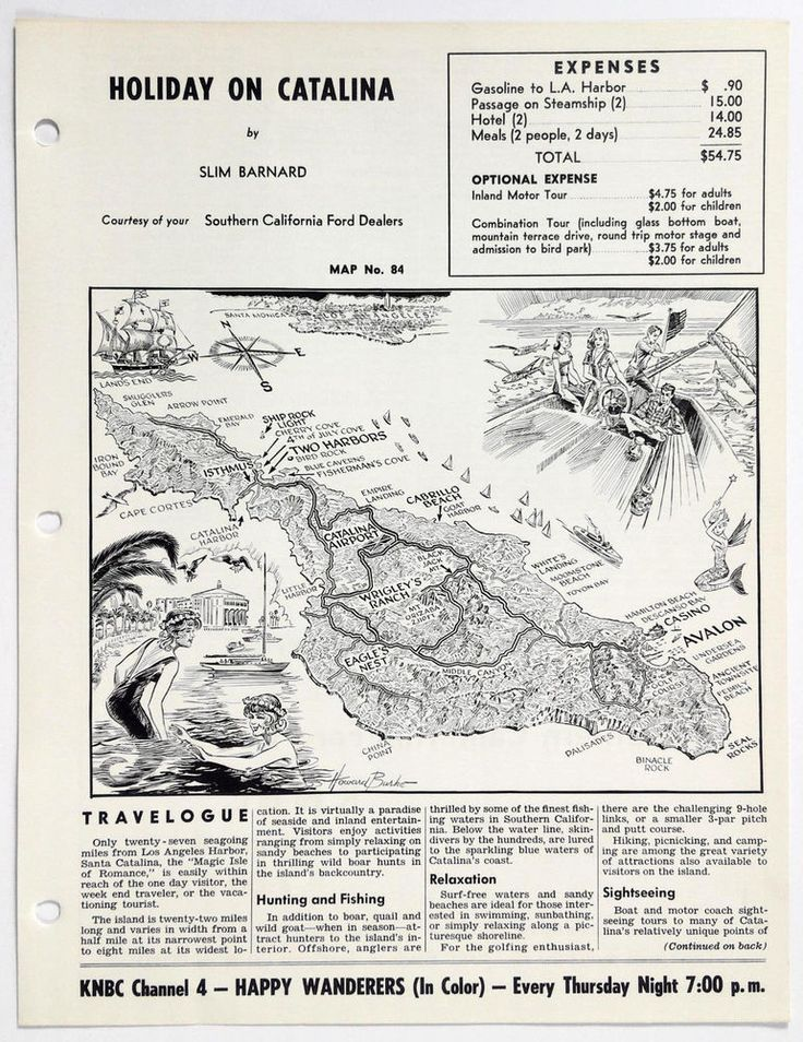 1960's SANTA CATALINA ISLAND CA Happy Wanderers Travelogue Slim Barnard Map Ford