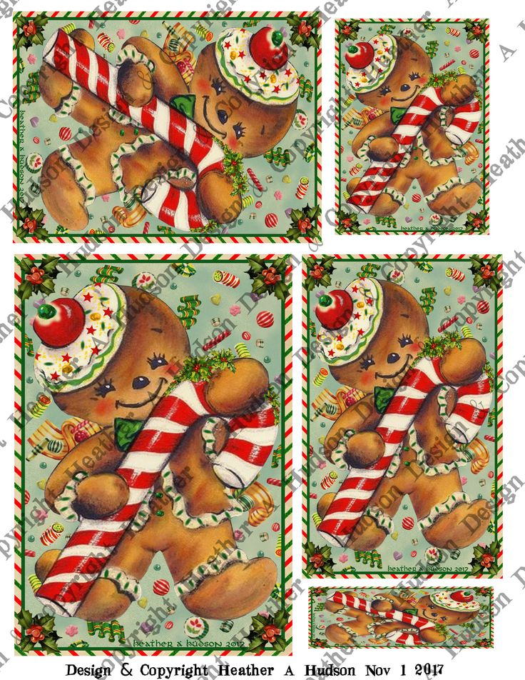 Vintage Retro Gingerbread men man cookie candy cane aqua background focal ATC Microscope Slide A2 size 5 by 7 size Card fronts