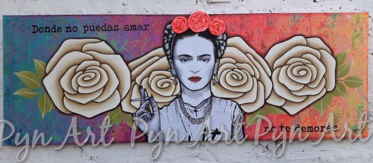Cuadro Frida Hipster con decoupage