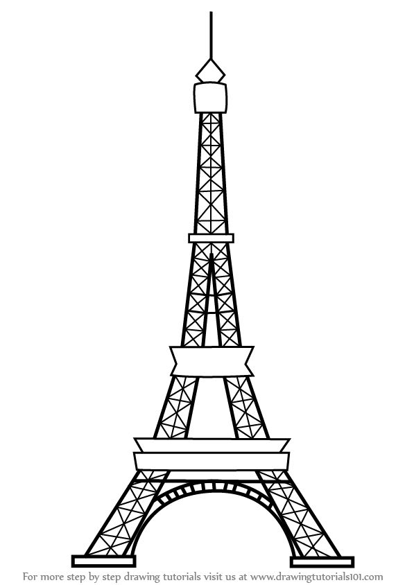 Eiffel Tower Drawing Gold