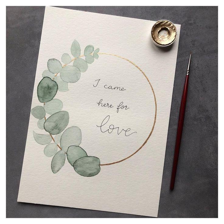 Aquarelleukalyptuskranz mit goldenen Details und einem Zitat   – watercolor by goldverliebt