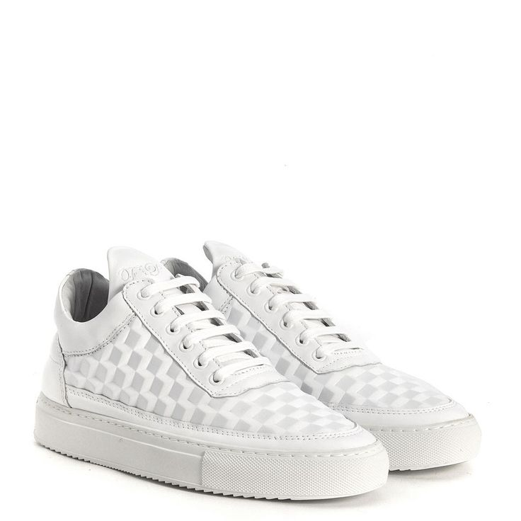 Sneaker Filling Pieces Low Top 3D cubic in pelle bianca