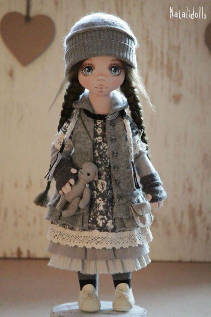 Николь - серый,авторская ручная работа,интерьерная кукла,бохо-стиль,лен
