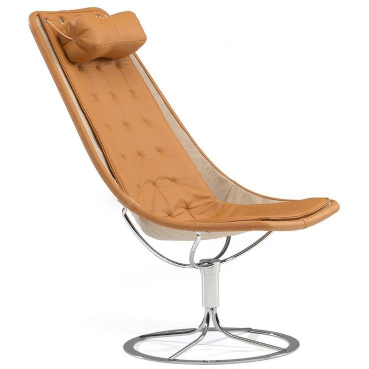 Jetson 66 lenestol lin, lang pute, brunt lær Bruno Mathsson - Kjøp møbler online på ROOM21.no