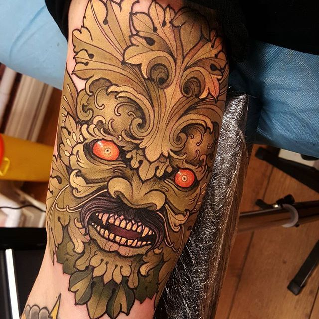 Not the best photo but today's green man! #tattoo #tattoos #tattooworkers…