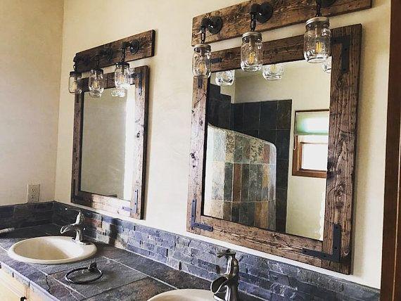 Rustic Distressed Mirror Wood Frame Mirror Farmhouse Mirror Etsy Farmhouse Mirrors Wood Framed Mirror Distressed Mirror