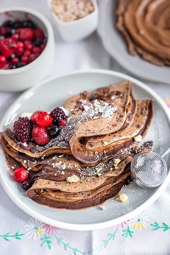 Chocolate crêpes with Nutella and mixed berries – an indulgent brunch or for dessert | Supergolden Bakes