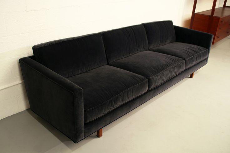 Comfortable Dunbar Sofa in Black Velvet w/ Wood Legs - at https://www.1stdibs.com/furniture/seating/sofas/