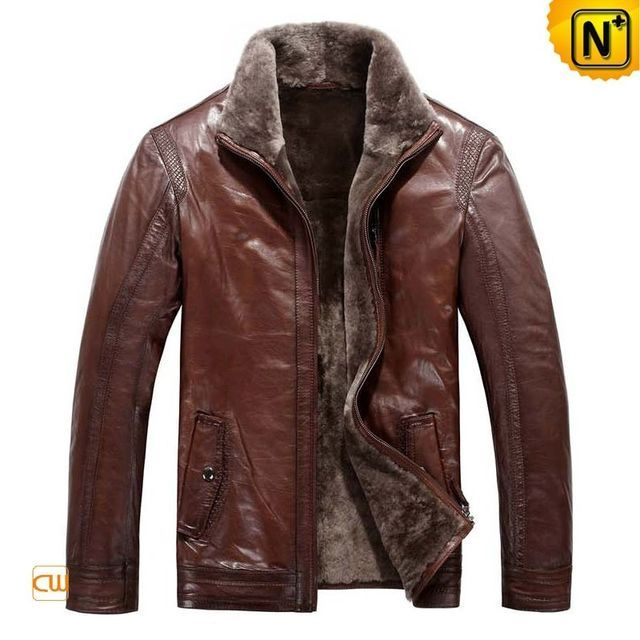 Warm lamb fur lined inside brown sheepskin leather jacket for men, best quality genuine sheepskin leather with lamb fur fabric parka dressy and fabulous soft shell brown sheepskin jacket for men sales in www.cwmalls.com for needs of spring!