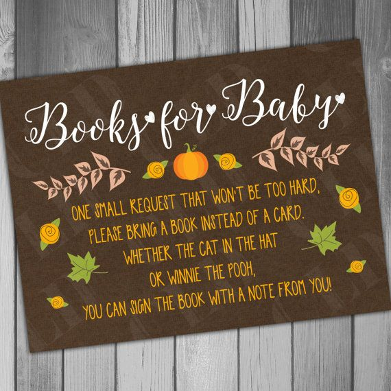 Baby Shower Bring A Book Fall Baby Fall In Instant by CLaceyDesign