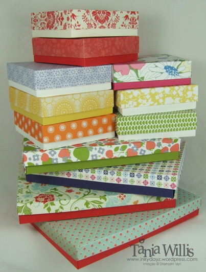 Boxes to measure using some fantastic tutorials from Connie Stewart.Her tutorials teach how to make a box based on the size you need & how to make a shim for your simply scored to make lids that fit....perfectly. Here are the links: http://www.simplysimplestamping.com/2011/09/simply-simple-custom-box-making-by.html; http://www.simplysimplestamping.com/2011/09/simply-simple-two-tone-box-making-by.html; http://www.simplysimplestamping.com/2011/09/simply-simple-box-making-shim-by-connie.html
