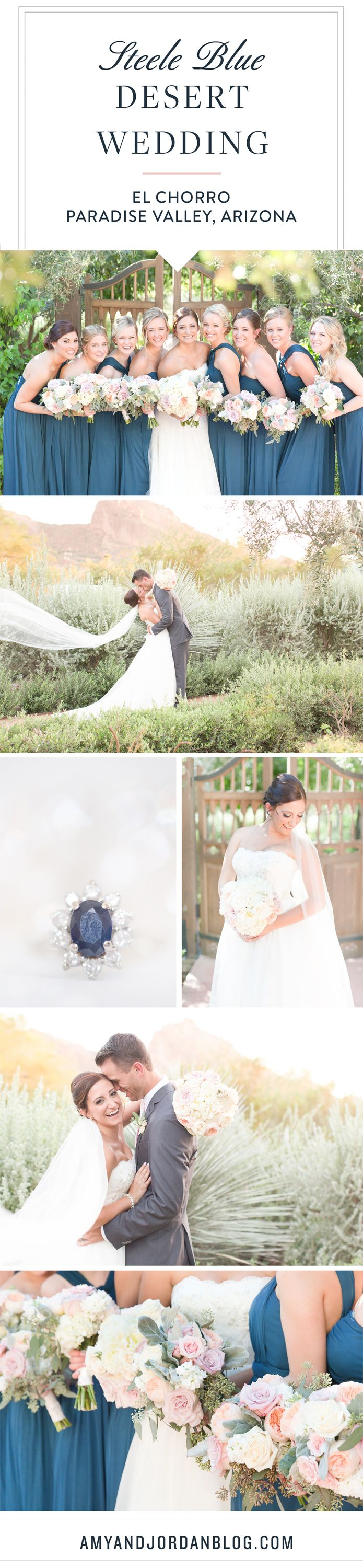 A steele blue and blush desert wedding at El Chorro Resort in Paradise Valley, Arizona. Gorgeous cathedral veil and the most precious father-daughter first look ever!!!