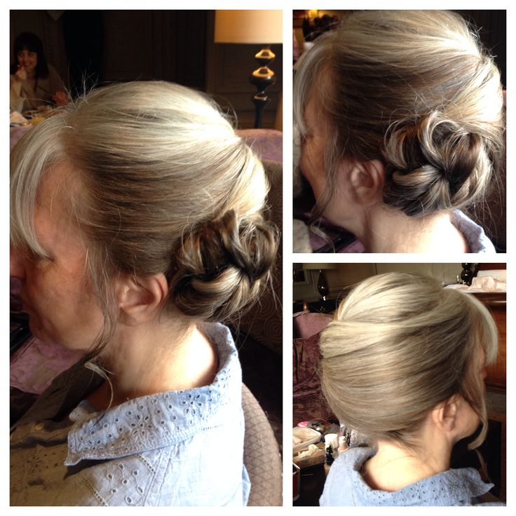 Mother of the bride low side chignon at Nutfield Priory Hotel in Surrey.  Created by Kirsty @livelifebeautiful