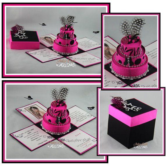 Hot Pink & Black Birthday Exploding Box Invitations - and tutorials!!!