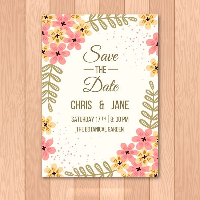Orange Pink Flowers Beautiful Wedding Invitation Cards Download