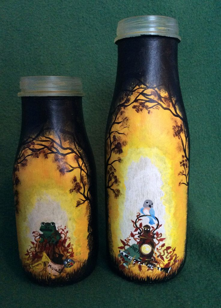 """SHOP FEATURE: Hand Painted 'Over the Garden Wall' Bottle """"By: TheLittlestPurpleCat These hand painted bottles portray Wirt and Greg from Cartoon Network's """"Over the Garden Wall."""" The brothers are..."""