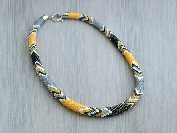 Bead Crochet Necklace by Chudibeads on Etsy, $65.00