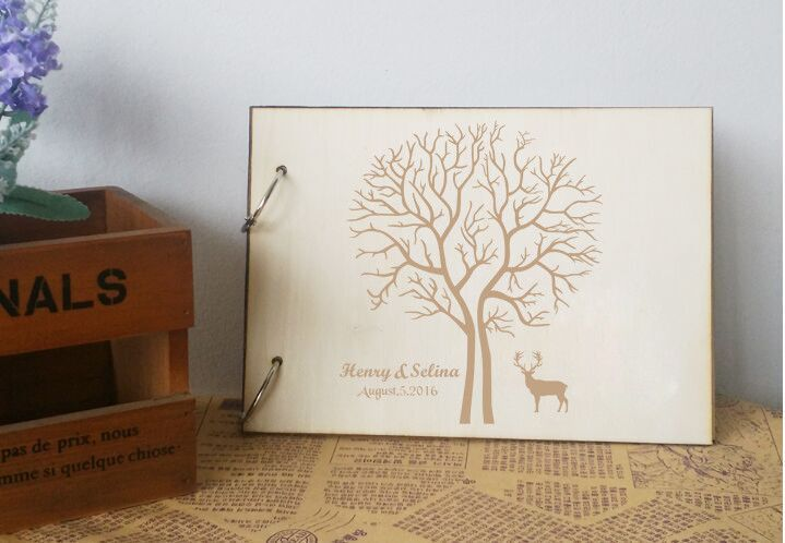 Newest Sika Deer Design Wedding Guestbook Personalized Guest Book Customized Name and Date Wedding Gift Keepsake Wedding Present
