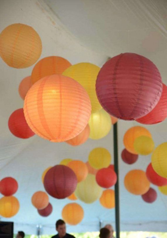 10X Chinese Paper Lanterns +10x LED White lights for Wedding Bridal Birthday Event Floral Decoration Supplies on Etsy, $21.99