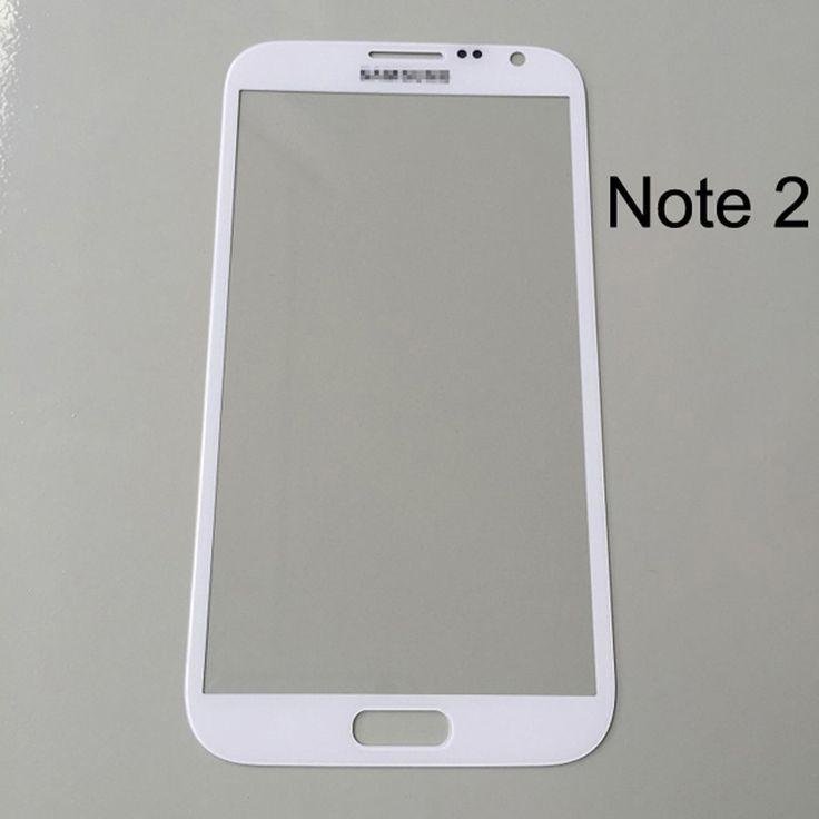 1ชิ้นด้านหน้ากระจกสำหรับsamsung galaxy note 2 n7100เปลี่ยนอุปกรณ์เสริมโทรศัพท์มือถือด้านนอกกระจกสีฟ้าสีเทา