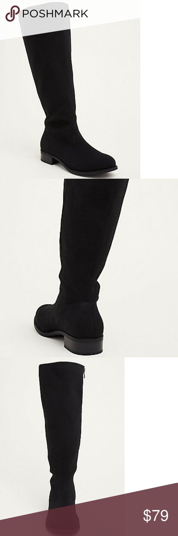 "TORRID All Over Stretch Knee-High Boots Comfiest. Boots. Ever. The pair features super stretchy black elastic material from knee to toe, lending stretch while also fitting to your calves like a second skin. The side zipper lends a structured touch to the relaxed style. Includes box. Calf Width -19.13"" Heel height - 1.25"" Wide width.  I am a 10.5 regular and the wide width doesn't feel to big (just a side note). torrid Shoes"