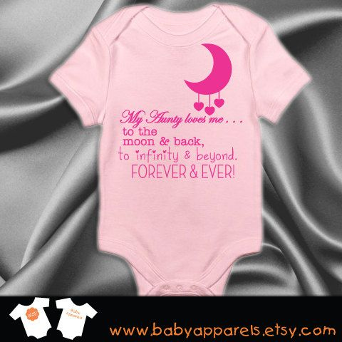 Aunt baby clothing Aunty loves you to the moon and by BabyApparels, $16.85