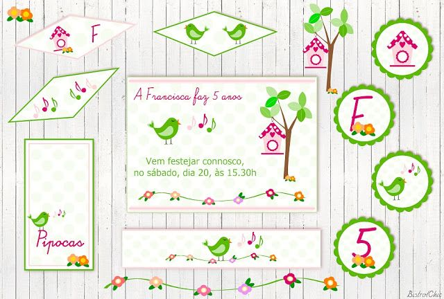 Spring Birds singing Personalized Party Printables by BistrotChic ®