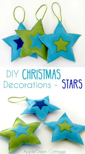 DIY Christmas Decorations - Felt Stars Free Pattern by AppleGreen Cottage. Add a cozy look to your Christmas tree with a set of your own, DIY Christmas star ornaments. #freepattern #beginnersewing