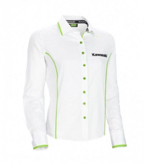 CAMISA SPORTS, MANGA LARGA MUJER KAWSAKI : Esta camisa blanca de manga larga femenina tiene detalles en verde lima en los laterales, cuello y bordes de las mangas. La apertura frontal también está forrada en verde y con botones iridiscentes verdes grabados con el logo de Kawasaki.