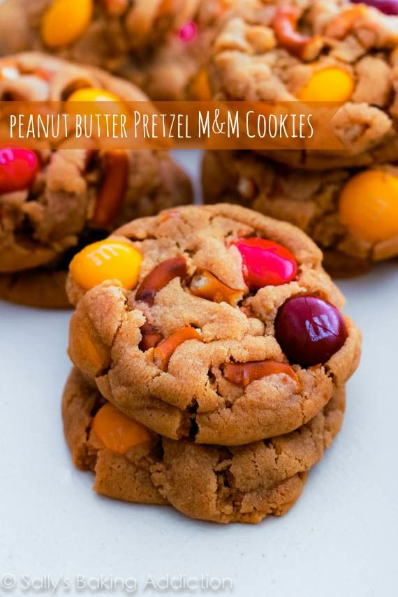 1 bowl peanut butter cookies filled with M+Ms and pretzels. Sweet, salty, and soft-baked!