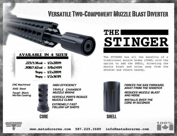 "THE NEW STINGER-9MM MUZZLE BRAKE 9MM - STANDARD 1/2"" x 28 THREAD - Colonel Mustard"